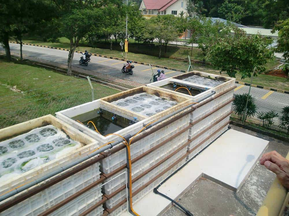 Jupiter three chamber wastewater system installed at Technical University in Kuala Lumpur. The system is installed above ground and is strengthened by outer steel bars