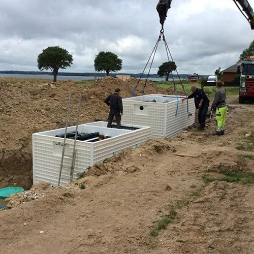 BioKube Jupiter wastewater systems for 100 - 500 PEare delivered fully equipped and ready to install as Plug and Play