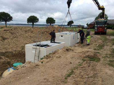BioKube Jupiter three chamber wastewater system under installation at camp site in Denmark