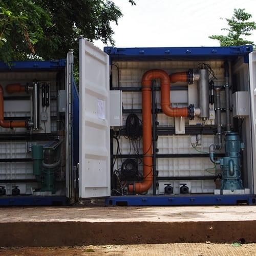 20 foot BioReactor containerised sewage treatment installed in Sierra Leone. You see the central airvlower and UV lighting for safe reuse of the treated waste water