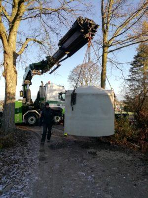 BioKube one chamber wastewater system in concrete under installation
