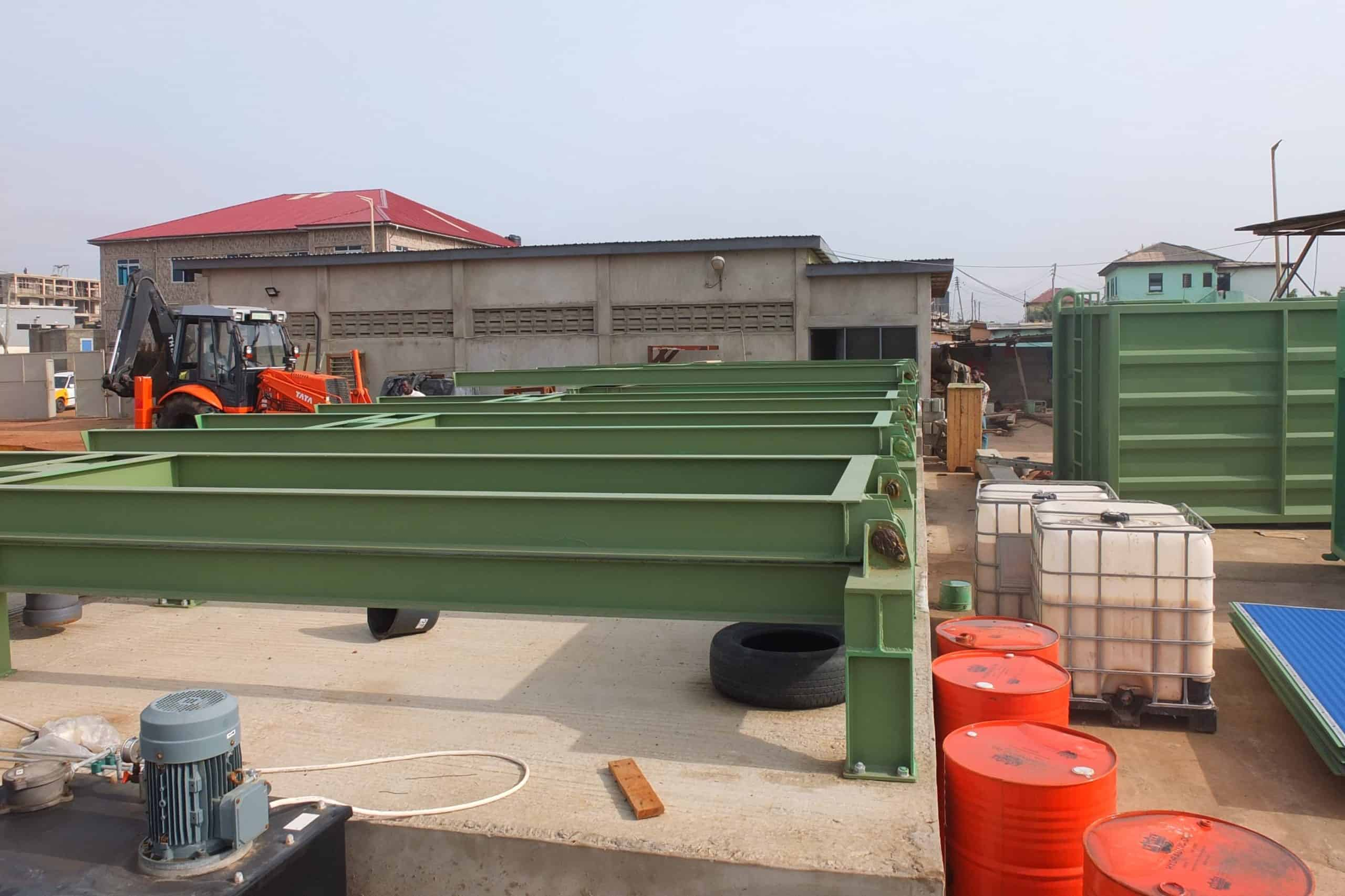 Foundation for permanent dewatering containers at Lavender Hill Ghana