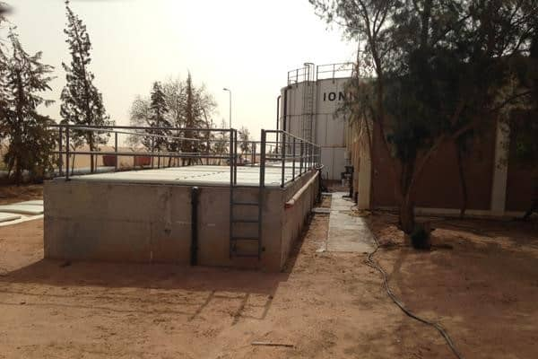 Bioreactor at oilcamp in Libya under construction